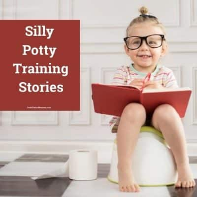 Silly girl sitting on a potty
