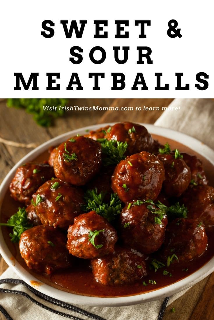 Great tasting and easy sweet and sour meatball recipe that doesn't disappoint for any occasion. Great for a meal or just has an appetizer. #sweetandsour #meatballs #grapejelly #ketchup #irishtwinsmomma via @irishtwinsmom11
