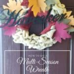 Pinable fall wreath with burlap flowers