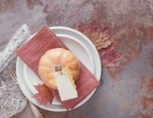 red napkin fall table setting