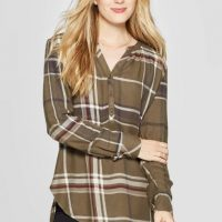 ‎ Women's Plaid Long Sleeve V-Neck Rayon Twill Tunic