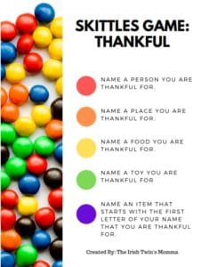 Skittles Thankful Game