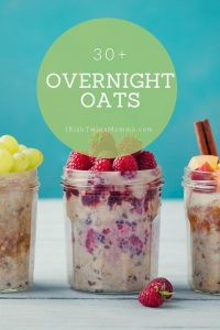 overnight oats with blue backgound