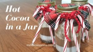 banner of hot cocoa in a jar