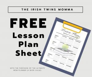 Free lesson plan sheet by the Irish Twins Momma