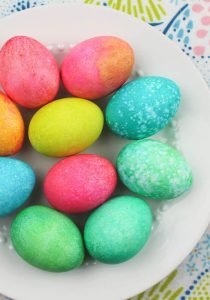 Easter eggs died with rice