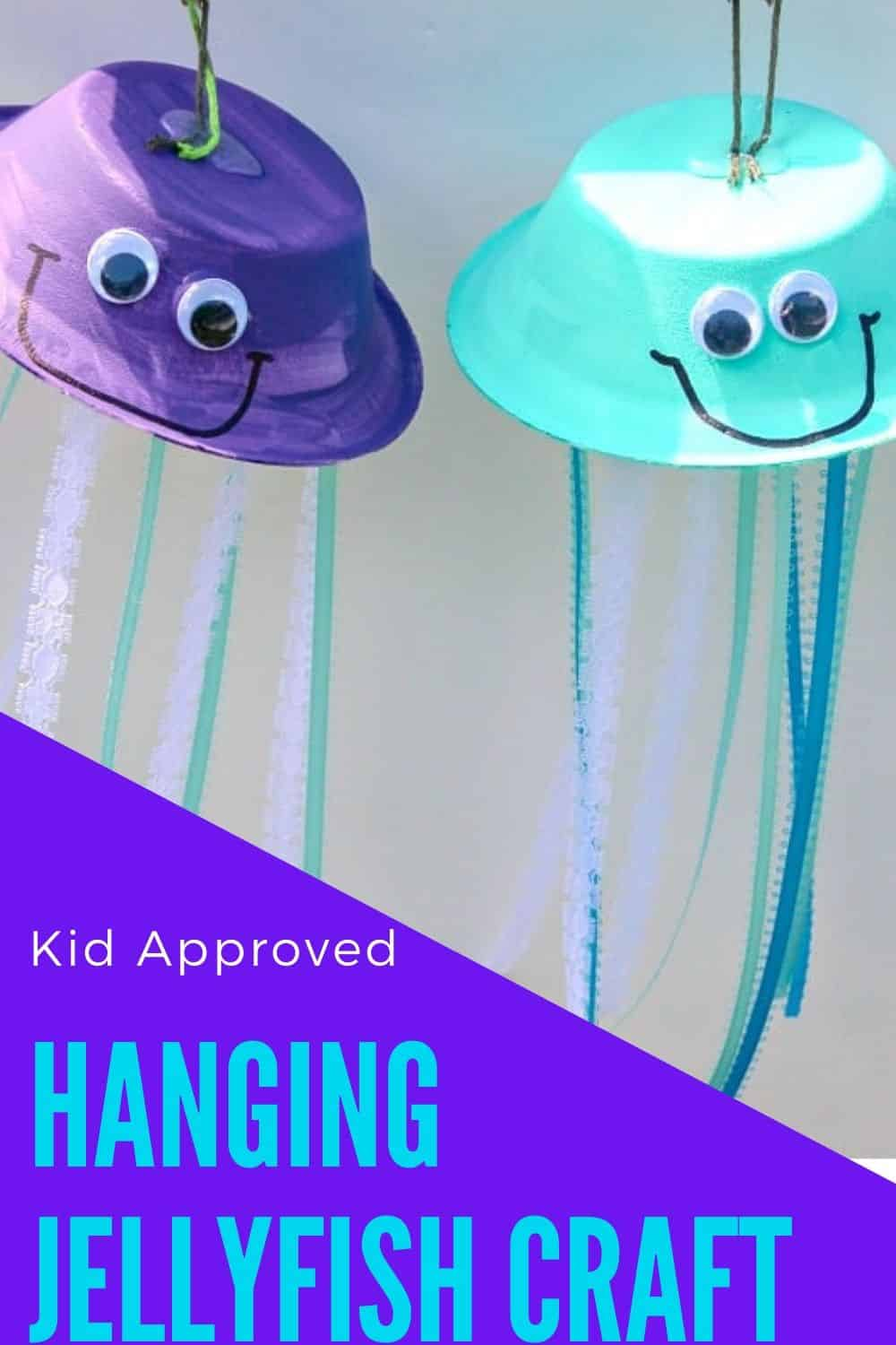 hanging jellyfish craft by Glue Sticks & Gum Drops? Your preschooler will love creating a unique hanging art piece featuring one of the most interesting ocean animals! All you need are paper bowls (plates would work, too), acrylic paint, assorted ribbons/yarn, googly eyes, a sharpie, paintbrushes, and a hot glue gun. Let them get creative with the painting and provide them several different ribbon colors to choose from. via @irishtwinsmom11