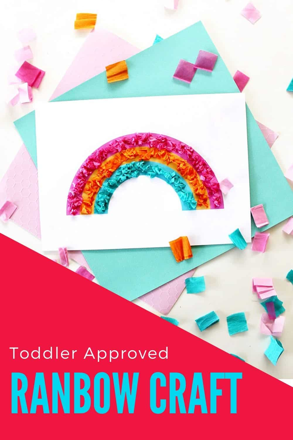 ll you need are tissue paper (blue, pink, orange), a glue stick, scissors, and this free rainbow printable. Simply coat the rainbow with a thin layer of glue, and explain to your toddler that they can stick the small, crumpled pieces of tissue paper to the matching colors on the rainbow. via @irishtwinsmom11