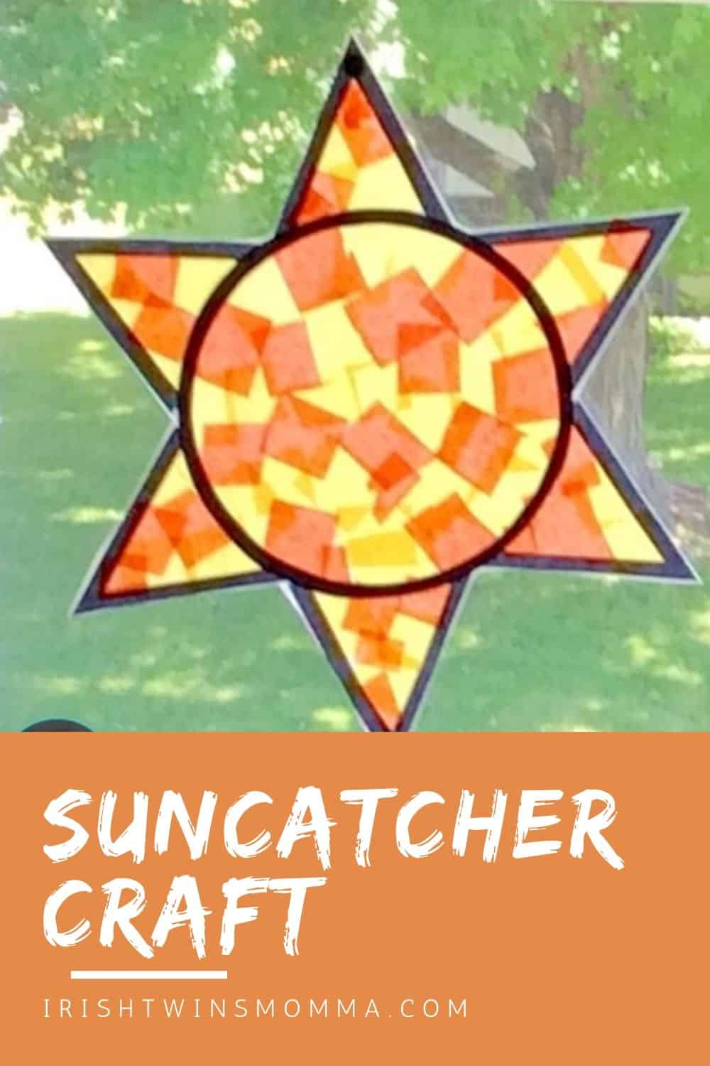DIY suncatcher from Lessons 4 Little Ones, you'll need contact paper, orange and yellow tissue paper, scissors, and these free printables. This is such a simple idea that turns out beautifully and can be displayed prominently in your tween's room! via @irishtwinsmom11